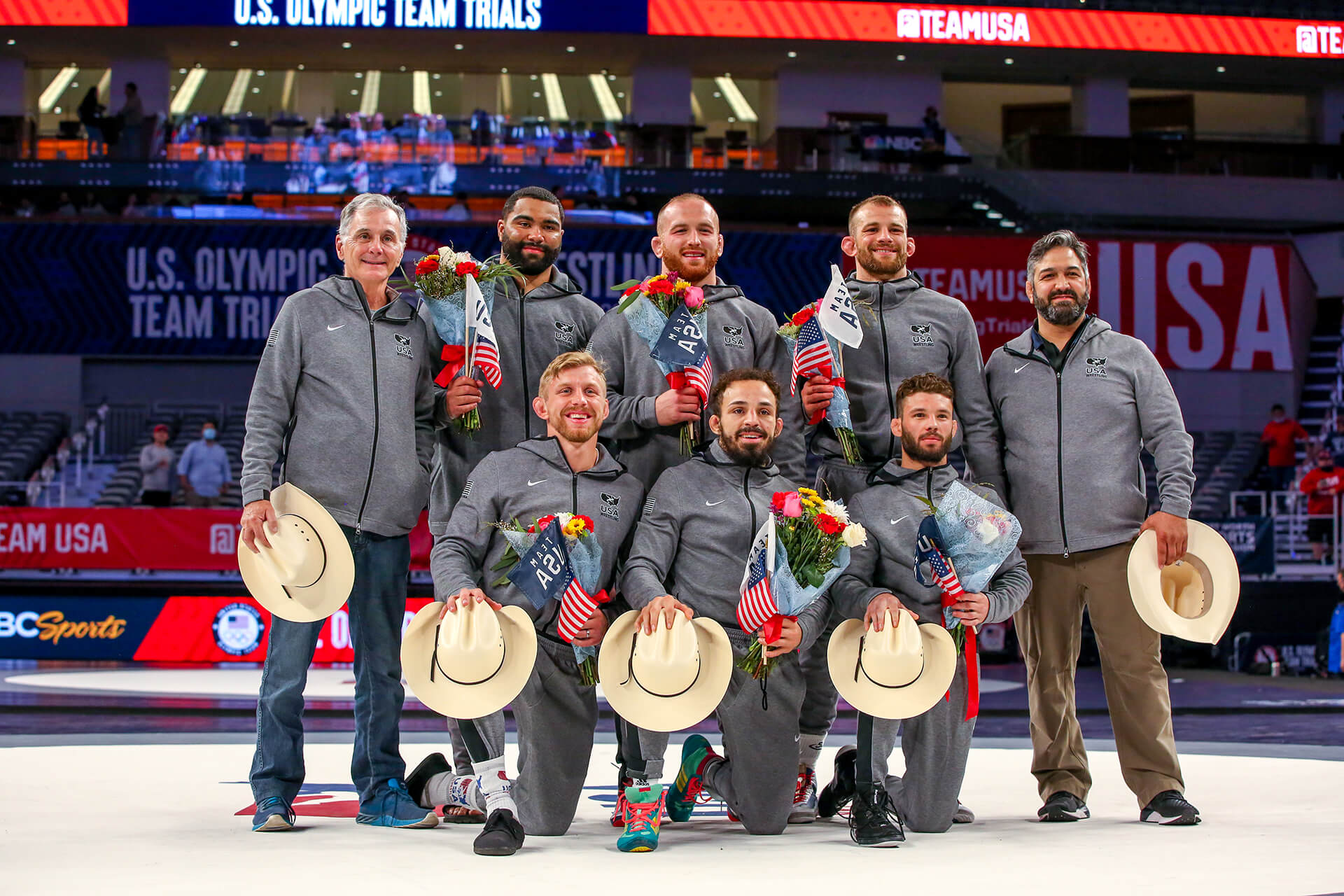 The USA Olympic wrestling team members and coaches